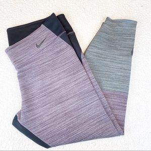 Gray and Purple Marled Dri Fit Leggings